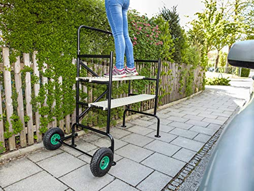 Mobiles Gerüst für Haus, Garten, Baustellen   2 Plattformen 81 und 57 cm hoch   2 luftgefüllte Reifen für den einfachen Transport   max. 150 kg