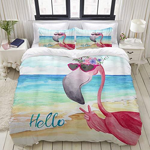 Dodunstyle Duvet Cover,Pink Flamingo Beach Sea Summer Flowers Flamingos Birds Ocean Starfish,Bedding Set Ultra Comfy Lightweight Microfiber Sets