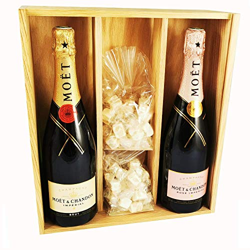 Champagne Moet & Chandon - Imperial Brut/Rosé & 2 * 150 gramos Nougadets blancos - Jonquier Deux Frères - En caja de madera