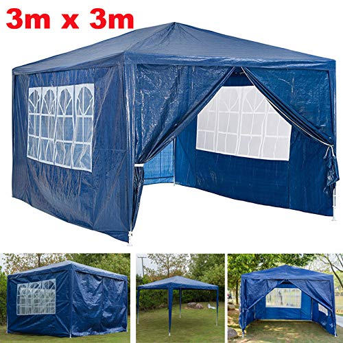 Autofather Garden Gazebo 3x3m Marquee Tent Waterproof with 4 Sides Panels Waterproof UV Protection Party Tent for Garden Camping Outdoor Wedding - Blue