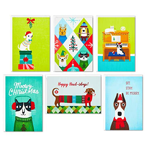 Hallmark Boxed Christmas Cards Assortment, Holiday Cats and Dogs (6 Designs, 24 Cards with Envelopes)