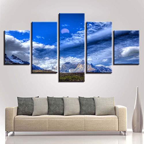 N/R Cuadro Moderno Lienzo Impresión Pintura Cielo Azul con Nubes Blancas y montañas 150x80cm HD Impresión en Lienzo 5 Piezas, Decoración de Pared para Hogar Salón Dormitorio Sin Marco