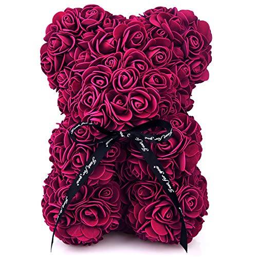 FEPITO Rose Bear 10 Pulgadas Rose Teddy Bear Gift Tiene más de 200 Flores en Cada Oso Rosa con Caja de Regalo Transparente, Adecuada para el Día de San Valentín, Aniversario, cumpleaños