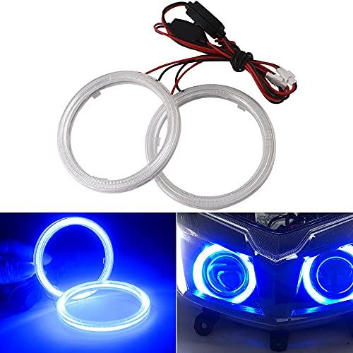 Qasim 1-Pair Blue 80MM 63SMD COB LED Halo Ring Angel Eyes Led Headlight Fog Lamp with lampshade Cover 12V 24V
