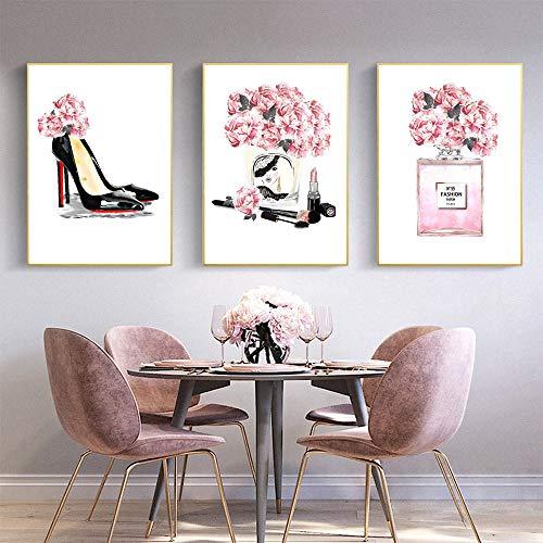IGZAKER Parfumflesje Wall Art Prints Poster Make-up Canvas Schilderij Hoge Hakken Print Bloemenmuur Foto's Voor Mode Meisjeskamer Decor-60x80cmx3pcs geen frame