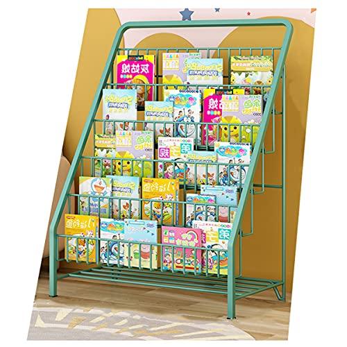 GELEI Autoportante Mensole per Bambini, A 5 Ripiani Libreria per Bambini per Portariviste Opuscoli Bambini Piccola sotto Il Tavolo Scaffale Pavimento Economica per Studenti Scaffale,Verde