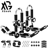 XGeek Kayak Roof Rack 4-in-1 for Kayak, Surfboard, Canoe and Ski Board Rooftop Mount Carrier Folding Adjustable Bilateral J-Style Rack on SUV, Car and Truck