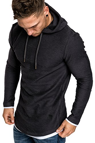 Amaci&Sons Herren 2in1 Oversize Kapuzenpullover Hoodie Sweater Sweatjacke Pullover Sweatshirt 4014 Anthrazit XXL