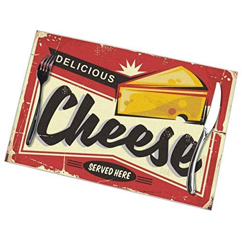 Tovagliette in metallo retro targa formaggio per tavolo da pranzo Set di 6 pezzi in poliestere lavabile 12x18 in tovagliette tessute in vinile resistenti al calore per decorazioni per tavoli da cucina