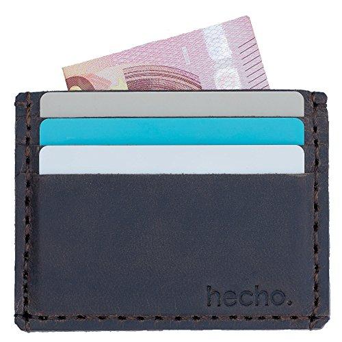 hecho. Kartenetui - Handgefertigt, Leder & Fair-Trade (Kartenhülle Kartenhalter Kreditkartenetui Kreditkarten Etuis Kreditkartenhülle Karten Etui für EC Karten, Führerschein, Ausweis.)