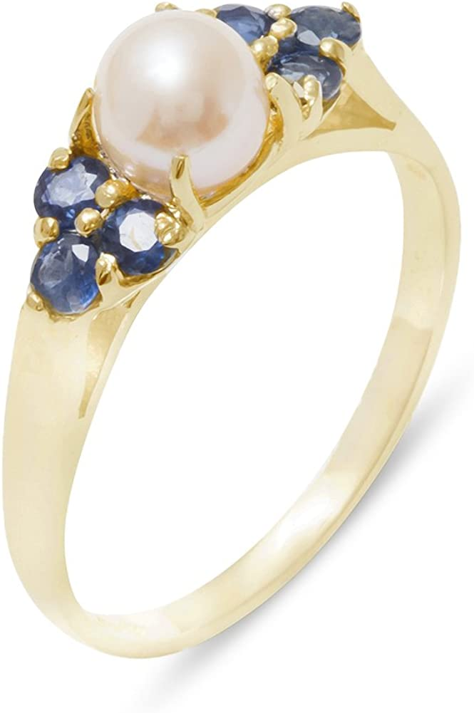 10k Yellow Gold Quantity limited Cultured Now on sale Pearl Sapphire Anniver Cluster Womens