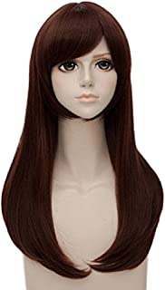 ANOGOL Hair Cap+ Halloween Cosplay Wig Long Wavy Brown Synthetic Hair Costume Wigs