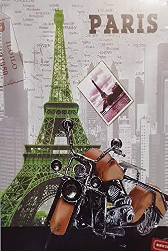 MI RINCON Cuadro de Madera Vintage Moto en Paris, 30x20 cms