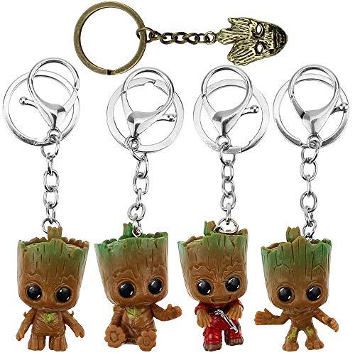 BlueXP Baby Groot Schlüsselanhänger Figur Marvel Klauee Groot Keychain 5 Stück Guardians of The Galaxy Groot Baby Schlüsselanhänger