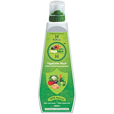 HûMaree VegeSure⠢ Vegetables washing Liquid | Removes Germs, Bacteria and Fungus | EcoCert Certified 100% Safe Ingredients (200ml.)