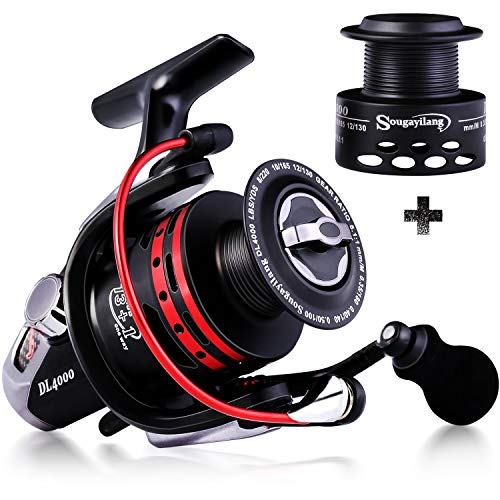 Sougayilang Carrete de pesca potente 13 + 1BB carrete giratorio ultra suave...