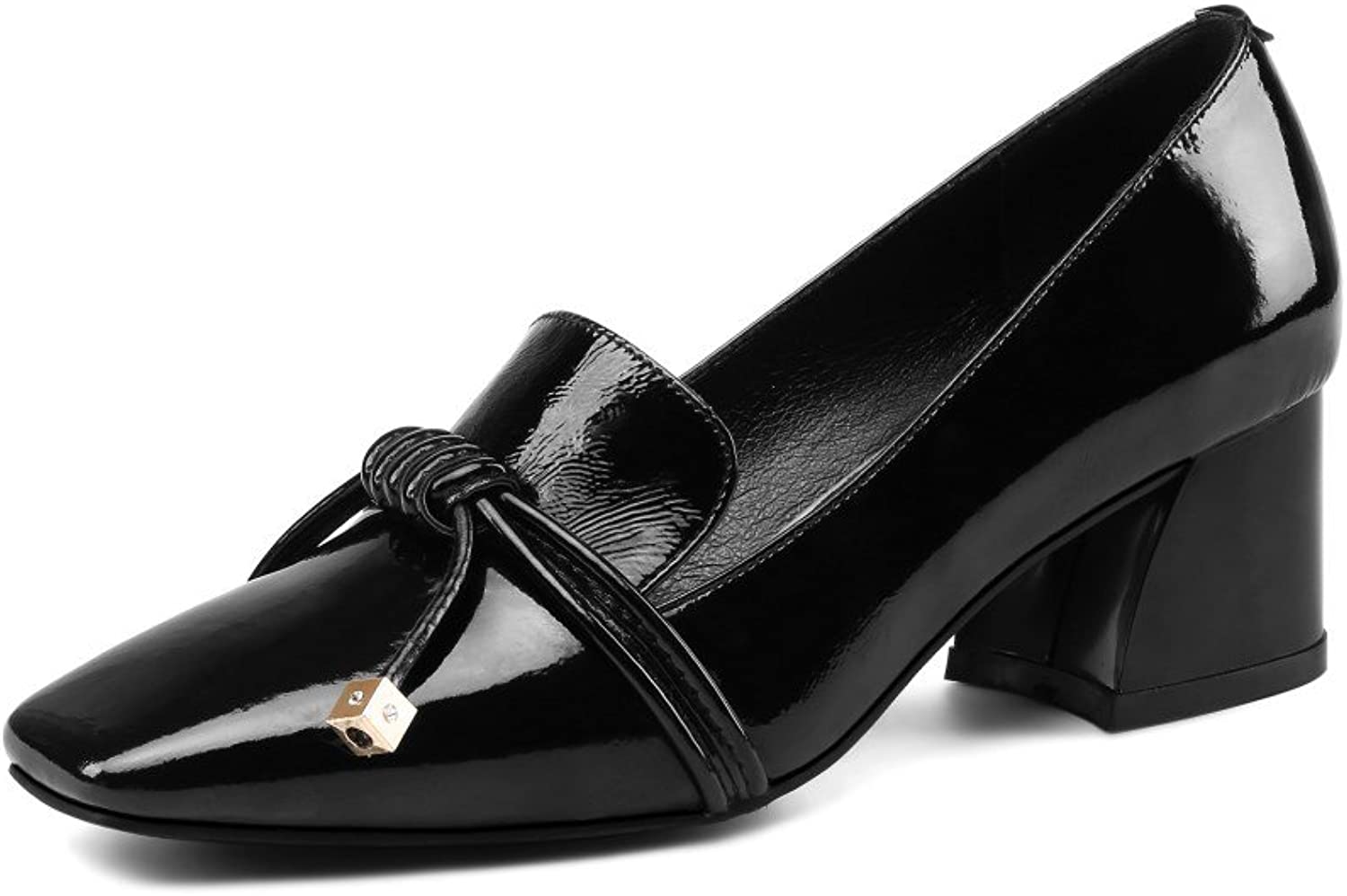 Nine Seven Patent Leather Women's Square Toe Mid Chunky Heel Slip On Handmade Gorgeous Pump shoes