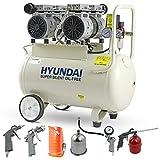 Hyundai 50 Litre Silent Air Compressor, 100PSI, 11CFM, 7 Bar, 2HP Portable Air Compressor, Oil Free Small Air Compressor, 2 Year Warranty, 5 Piece Air Accessories Kit, 230v 3 Pin 13amp Plug, White