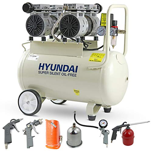 Hyundai 50 Litre Silent Air Compressor, 100PSI, 11CFM, 7 Bar, 2HP Portable Air Compressor, Oil Free Small Air Compressor, 2 Year Warranty, 5 Piece Air Accessories Kit, 230v 3 Pin 13amp Plug, White