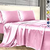 Satin Sheets King Size (4 Pieces, 5 Colors), Silky Satin Sheet Set -Satin Bed Set with 2 Pillowcase, Satin Fitted Sheet - Pink Satin Sheets, King Size Satin Sheets, Satin Bed Sheets King