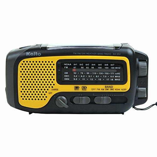 Kaito KA350YLW Voyager Trek Solar/Crank AM/FM/SW NOAA Weather Radio with 5-LED Flashlight, Yellow