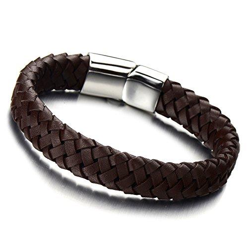 COOLSTEELANDBEYOND Unisex Braune Geflochtenes Leder-Armband für Herren für Damen Leder Armreif Schweißband mit Edelstahl Leiterverschluss