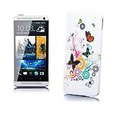 HTC One M7 | iCues Strass Blumen Case Bunter Schmetterling | [Display Schutzfolie Inklusive] Motiv Muster Strass Glitzer Glitter Luxus Bling Damen Frauen Mädchen Schutzhülle Hülle Cover Schutz