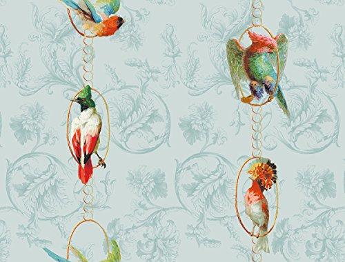 Klassisch edle Paradies Vogel Tapete Birds on a string mit Papageien auf Barock Muster hellblau, türkis - Vlies Tapete Ornamente Tiere GMM Wandtapete (Höhe 3m Breite 46,5cm)