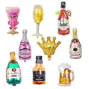 Gresunny globos champagne 9 piezas globo de papel de aluminio botella de champán cerveza whisky copa vino globos de helio artículos de fiesta decoraciones para cumpleaños bodas Navidad