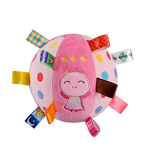 Inchant Soft Rattle Ball for Babies - Toddler Plush Sensory Toys Built-in Bell Gift Ball with Colorful Tags, Pink