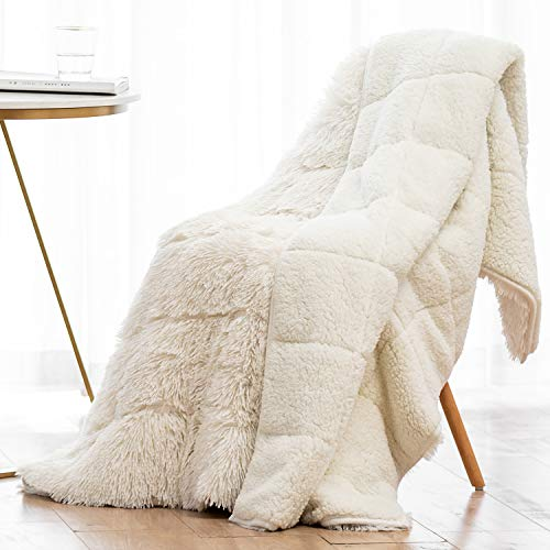 Wemore Shaggy Long Fur Faux Fur Weighted Blanket, Cozy and Fluffy Plush Sherpa Long Hair Blanket for Adult 15lbs, Fluffy Fuzzy Sherpa Reverse Heavy Blanket for Bed, Couch, Cream White, 60 x 80 Inches