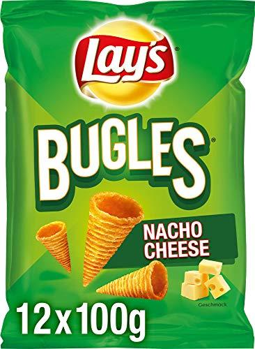Lay's Bugles Nacho Cheese – Herzhafter Mais-Snack mit Käse-Geschmack – 12 x 100g