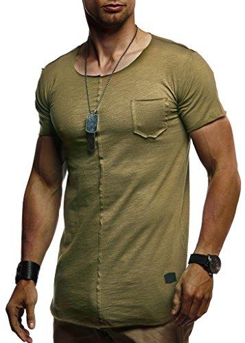 Leif Nelson Herren Sommer T-Shirt Rundhals-Ausschnitt Slim Fit Baumwolle-Anteil Basic Männer T-Shirt Crew Neck Hoodie-Sweatshirt Kurzarm lang LN6288 Khaki Medium