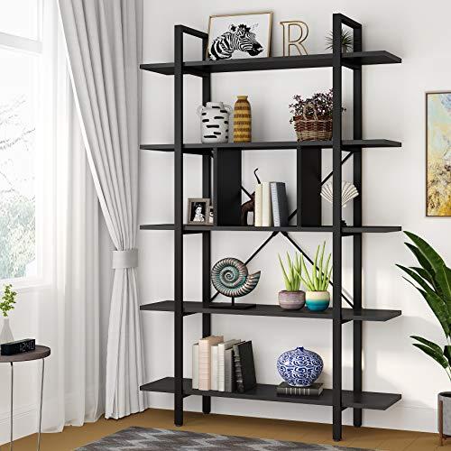 Tribesigns Estantería Industrial 5 Capas Librería para Salón Oficina, Vintage y Negro...