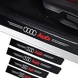 4 piezas de placa de protección de umbral de puerta de coche placa anticolisión adecuada para Audi A3 A4 A6 Q3 Q5 Q7 accesorios de modificación de pegatina antirrayas de coche de fibra de carbono DIY