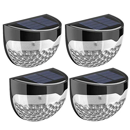 GloBrite Solar Fence Lights, Decorative Lights LED Garden Lights, Waterproof Solar Lights Wireless Outdoor Lights for Patio, Fence, Yard, Garden, Garage, Stairway, Gate, Wall (Pack of 4)