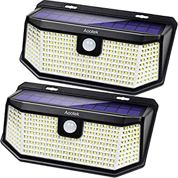 Aootek Solar lights outdoor 182 Leds 2500Lm Solar motion sensor lights IP65 Waterpro of with Wide Anglefor Patio Garden Garage Yard Front Door 2pack
