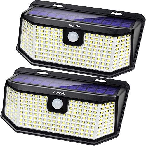 Aootek Solar lights outdoor 182 Leds 2500Lm Solar motion sensor lights IP65 Waterpro of with Wide Anglefor Patio Garden Garage Yard Front Door(2pack)