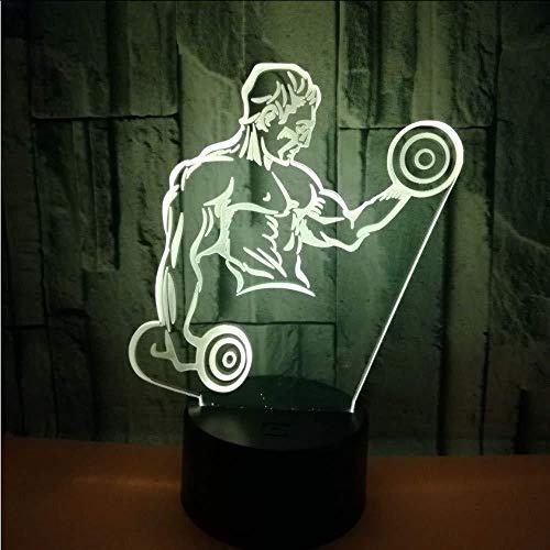 Neu Hot Muscle Men 3D Kleines Nachtlicht Hantel Fitness Sieben Farben Touch Remote Led Visuelles Geschenk 3D Lampe USB Led Licht