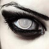 Weiße farbige Zombie Kontaktlinsen für Halloween Kostüm Gitternetz, 2 Stück, Designlenses, Model: White Screen -