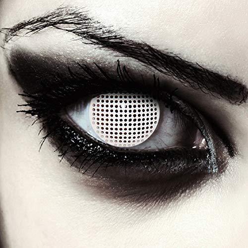 Weiße farbige Zombie Kontaktlinsen für Halloween Kostüm Gitternetz, 2 Stück, Designlenses, Model: White Screen