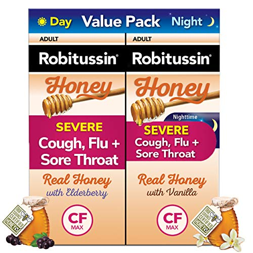 Robitussin Severe Cough Flu & Sore Throat Day & Night Value Pack Ages 12+ Honey, 4 Ounce
