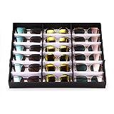 Caja organizadora de anteojos con 18 ranuras para organizar gafas, gafas de sol, gafas, gafas, gafas, gafas, gafas, joyas, relojes y gafas de sol, con bandeja plegable