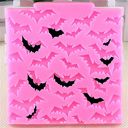 Bullidea Square Halloween Bats Fondant Silicone Case Molds Jelly Ice Chocolate Mould Decoration Baking DIY Mould Tool for Handmade