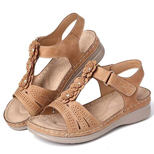 gracosy Sandalias Mujer Verano Sandalias de Playa Flat Punta Abierta Cuña Sandalias Casual Caminar Sandalias Antideslizante Zapatos Tobillo Correa Slingback Zapatos de Trekking