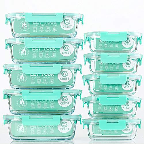 CREST Glas Frischhaltedosen [10er Set] Vorratsdosen Glas mit Deckel, BPA-Frei, Geeignet für Mikrowelle, Gefrierschrank und Spülmaschine