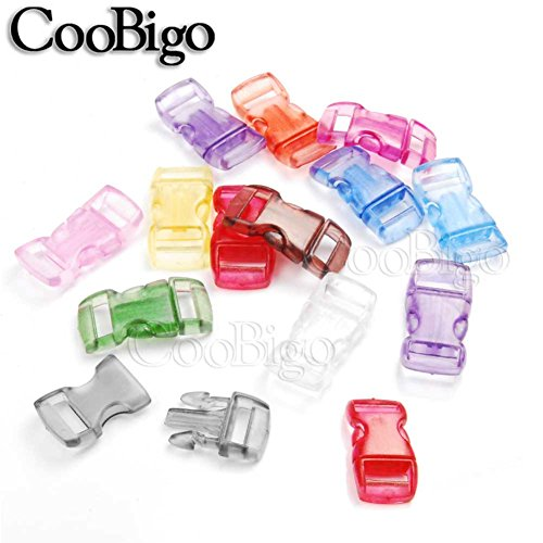 "Colorful Frost Clear Jelly Curved 3/8"" Side Release Buckles Parachute 550 Cord Paracord Bracelets Pets Collar Strap Webbing 10mm Parts Accessories #FLC003-T (Mixed in a Random)"