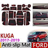 AniFM Slip Door Slot Caoutchouc Latex Slot Pad De Coussin Intérieur pourFord KUGA 2017 2018 2019 Ford Escape MK2 Autocollants De Voiture 21 Pc / 1 Set,Red
