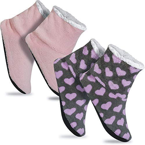 GAWILO 2 Paar rutschfeste Damen Home Booties | Hausschuhe mit ABS Sohle (35-38, farbig 14)