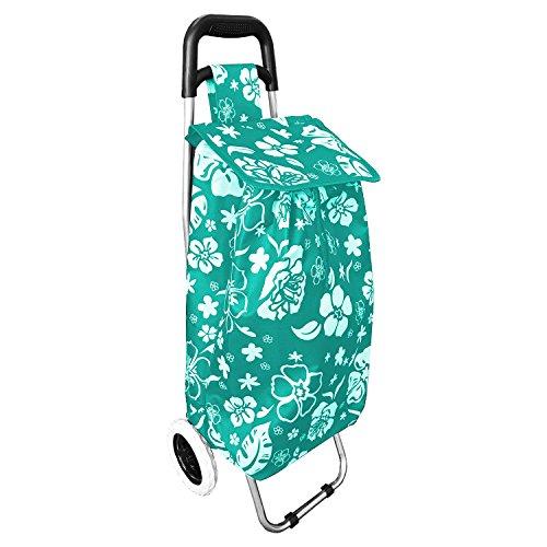 Einkaufstrolley Treppensteiger Einkaufsroller Einkaufskorb Blumenmuster mit Rädern Mint klappbar